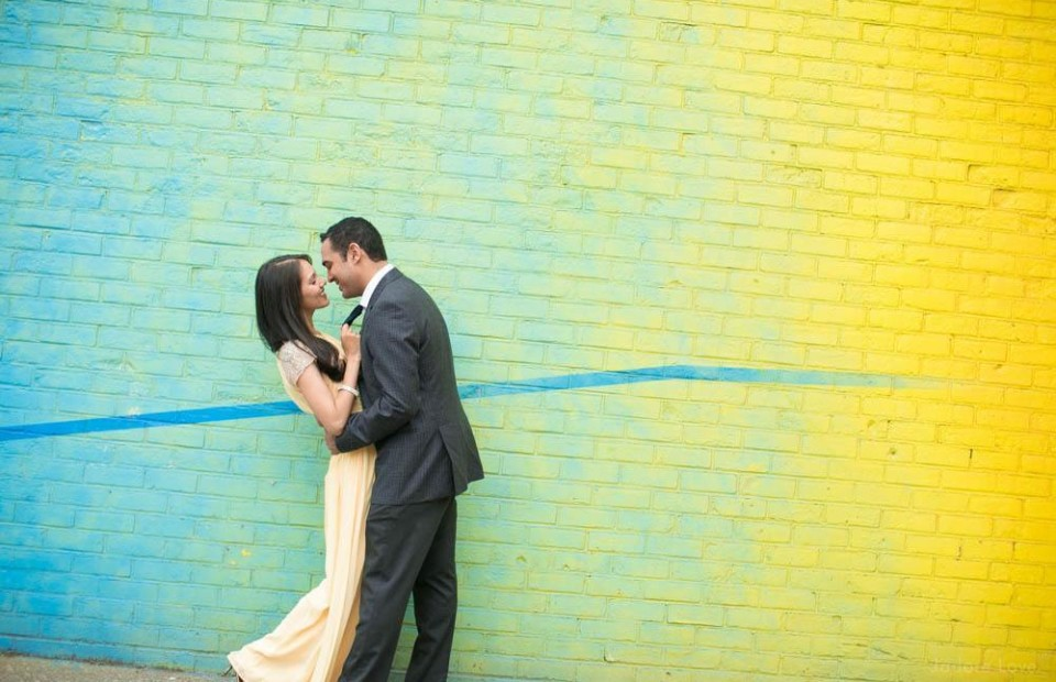 Colorful wall engagement photos