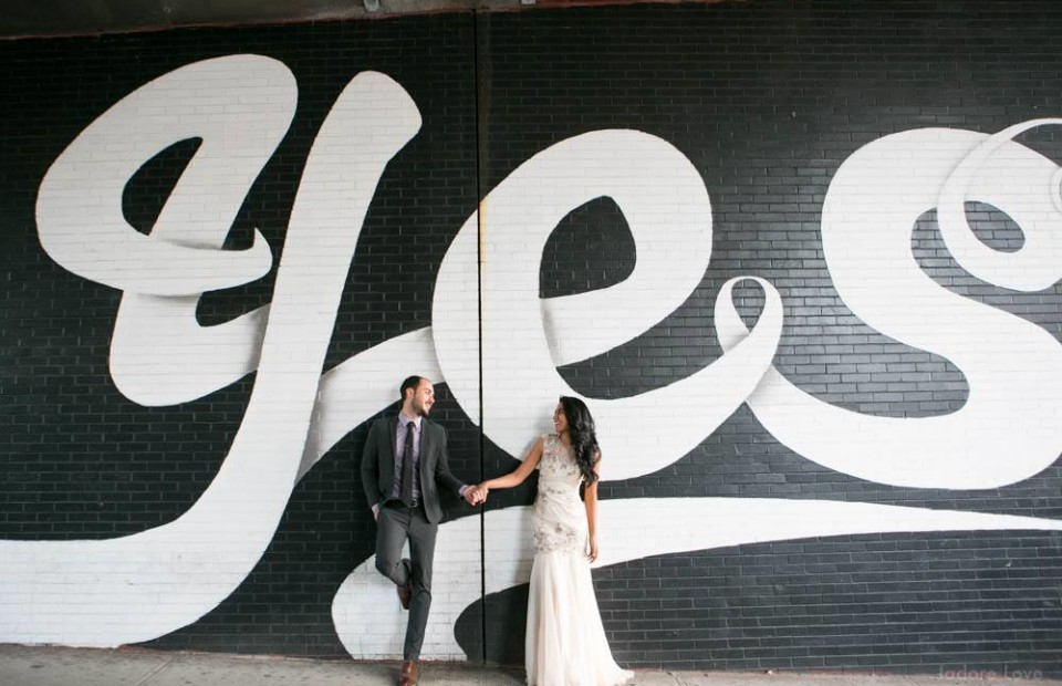 Brooklyn Engagement Photos, Yes Sign