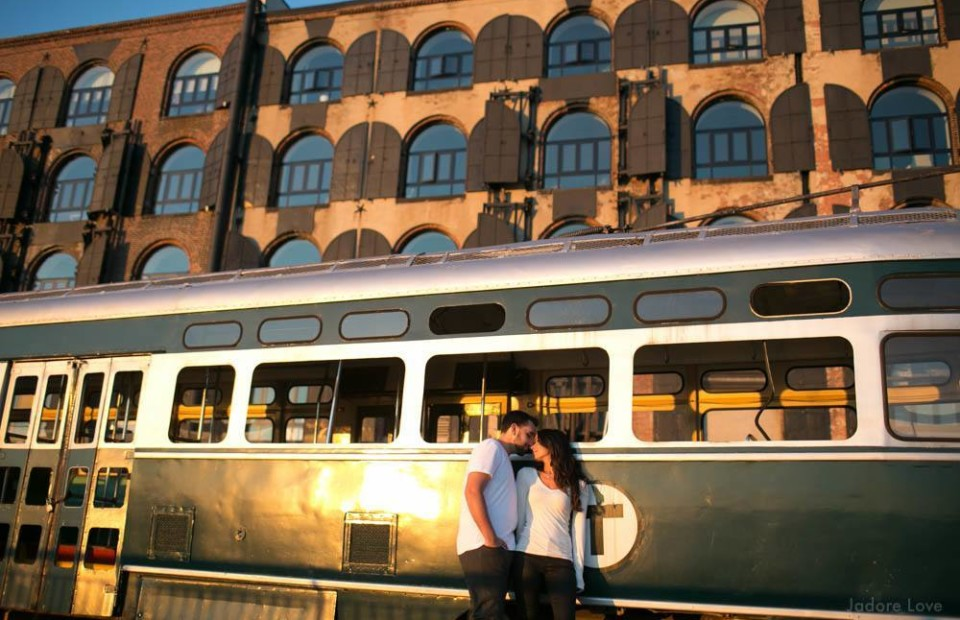 Red Hook Engagement photos with trolley